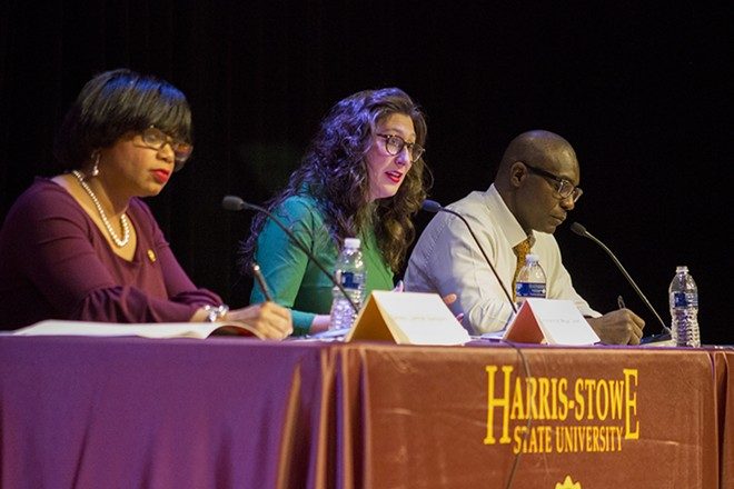 Jamilah Nasheed, left, and Megan Ellyia Green challenged Lewis Reed. - DANNY WICENTOWSKI