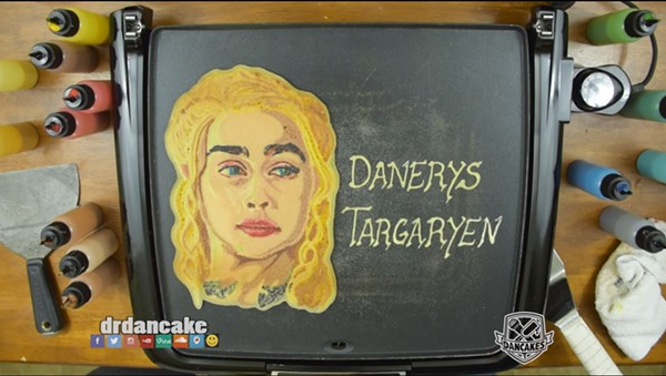 "Dr. Dan the Pancake Man draws Danerys ""Khaleesi"" Targaryen in pancake form. - SCREENGRAB FROM DANCAKES YOUTUBE CHANNEL."