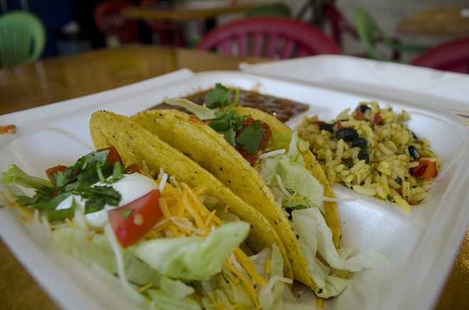 The Red Shack offers four different meats with their tacos and burritos; classic ground beef, pork in red sauce, shredded chicken and hobo shredded chicken. - KAVAHN MANSOURI