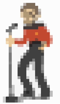 THIS PIXELATED RENDITION OF ANDREW GARCES CAN BE FOUND AT 3 OF 5'S BANDCAMP PAGE.
