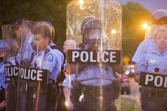 St. Louis cops respond to protests over Mansur Ball-Bey's death. - PHOTO BY DANNY WICENTOWSKI