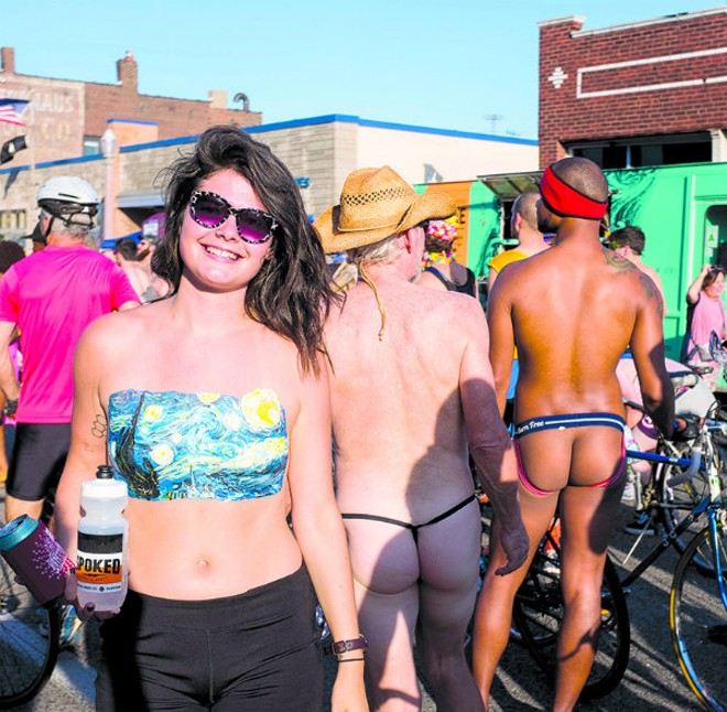 """The best masterpieces out here are the people who are comfortable enough with themselves to just be,"" Jessica Leitch told us at last year's World Naked Bike Ride. ""Bare or not."" - PHOTO BY JARRED GASTREICH."