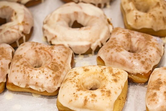 Vincent Van Doughnuts' goodies have a distinct square shape — and deliciously light, flaky texture. - PHOTO BY MABEL SUEN
