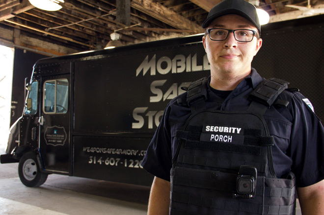 Isaac Porch, seen here modeling the uniform and body camera setup for the company's security guards.