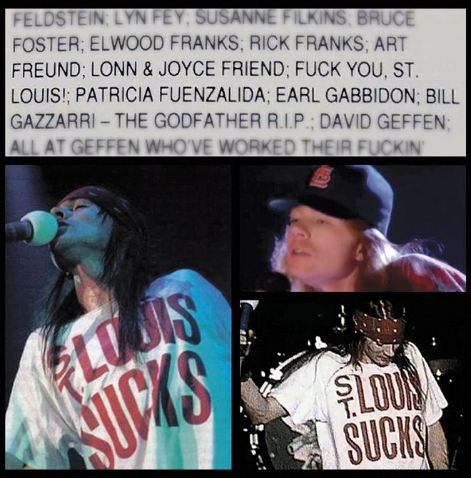 Axl Rose wasn't exactly subtle about his distaste for St. Louis after the riot. - ART BY JAIME LEES