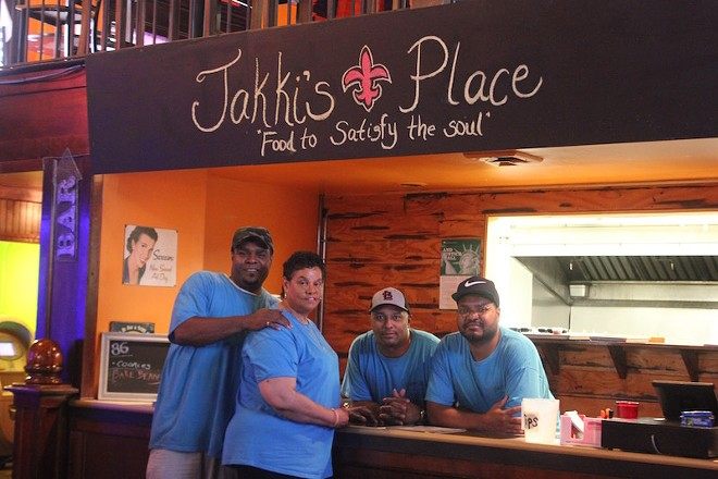 Working at Jakki's Place on a recent afternoon were Marcus Love, Mary Love, Cedric Love and Stephen Love. - PHOTO BY SARAH FENSKE