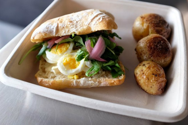 "The ""Mary B.E.A.R."" sandwich is made with brie, eggs, arugula and pickled red onions."" - HOLLY RAVAZZOLO"