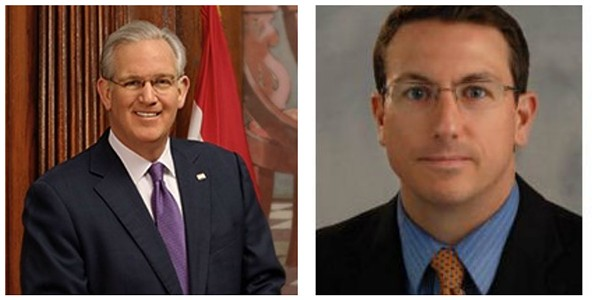 Michael Barrett, right, earned national press coverage for punking Governor Jay Nixon.