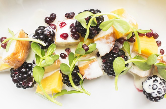 Smoked scallop with pickled beet, blackberry and mustard-buttermilk vinaigrette. - PHOTO BY MABEL SUEN