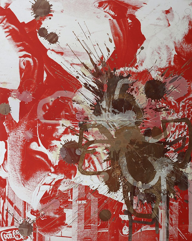 Kelley Walker, Black Star Press (rotated 180 degrees), 2006. Digital print and chocolate on canvas, two panels, each 83 x 104 inches; overall 83 x 208 inches. Carlos and Rosa de la Cruz Collection, Miami.