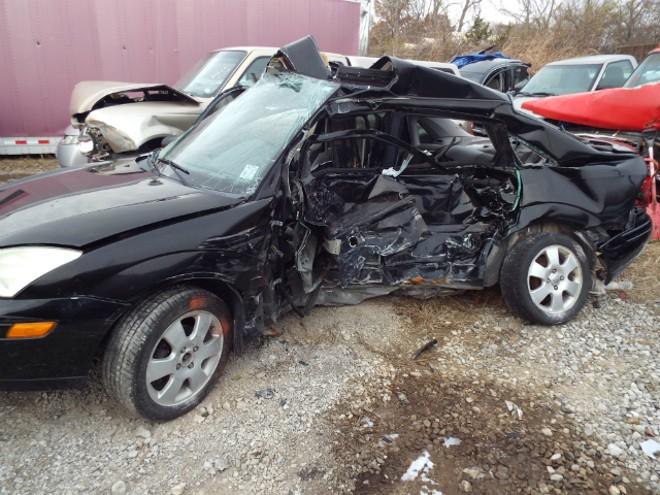 Krystofer Batsell's Ford Focus following the crash. - COURTESY GRANT BOYD