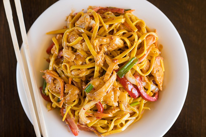 Chipotle chicken noodles are served in a coconut-chipotle sauce. - MABEL SUEN