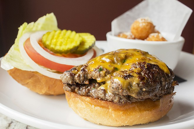 """The """"Scarlett Burger"""" could rival a double cheeseburger from Steak N Shake. - PHOTO BY MABEL SUEN"""