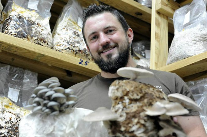 JT Gelineau loves mushrooms, naturally. - KELLY GLUECK