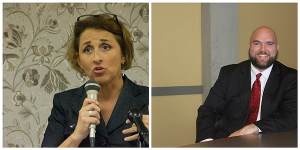 Attorney Jane Dueker, left, lost the appeal aiming to block a special election this Friday. David Roland (right) argued for the other side. - PHOTOS BY DANNY WICENTOWSKI/SARAH FENSKE