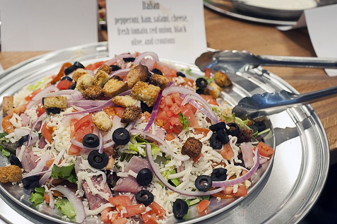 """The Italian"" Salad: pepperoni, ham, salami, cheese, black olives, red onion and croutons. - PHOTO BY KELLY GLUECK"