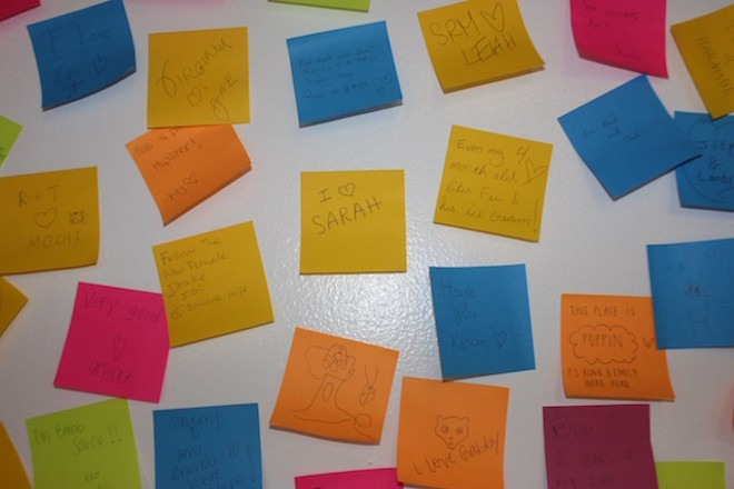 Those Post-It notes contain messages from previous customers. - PHOTO BY SARAH FENSKE
