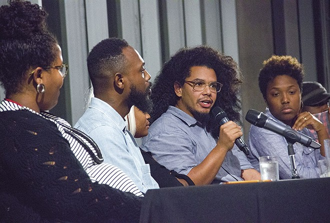 As part of a panel of black artists, Kahlil Irving called for St. Louis' Contemporary Art Museum to remove Kelley Walker's work. - PHOTO BY DANNY WICENTOWSKI