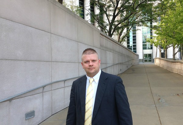 Ex-Pine Lawn police lieutenant Steven Blakeney leaves federal court on Wednesday. - PHOTO BY DOYLE MURPHY