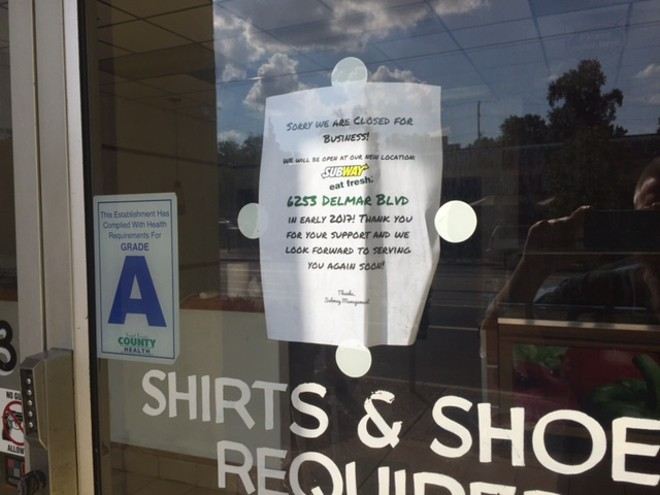 This sign was posted at Subway on Monday. - PHOTO BY PAUL FRISWOLD
