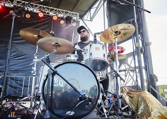 Bruiser Queen drummer Jason Potter, performing at this year's LouFest. - PHOTO BY STEVE TRUESDELL