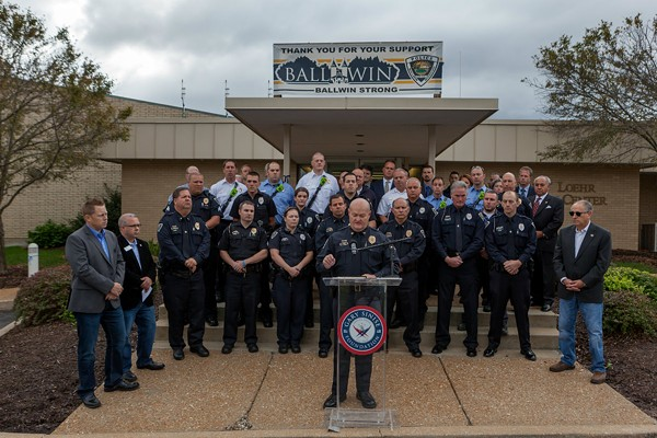 The Ballwin Police Department and the Gary Sinise Foundation held a press conference at the Ballwin Police Department Thursday morning. - PHOTO COURTESY OF  GARY SINISE FOUNDATION AND BALLWIN POLICE DEPARTMENT.