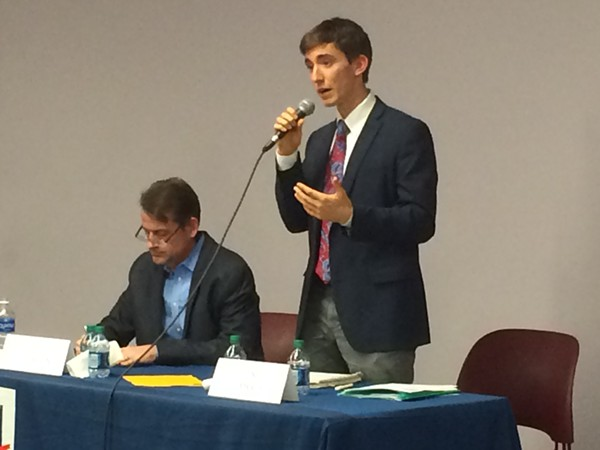 Luke Babich, right, is 22 — and running for office in University City. - PHOTO BY JESSICA KARINS