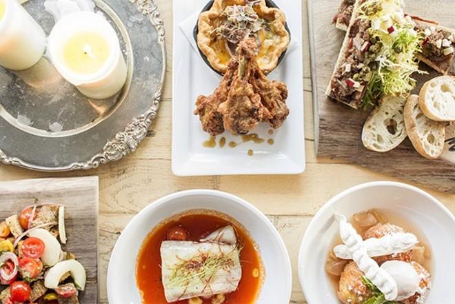 "A selection of dishes from the Libertine: ""Duck & Pie,"" ""Short Rib & Bone Marrow,"" tomato panzanella, ""Aqua Pazza"" and caramel-apple beignets. - PHOTO BY MABEL SUEN."