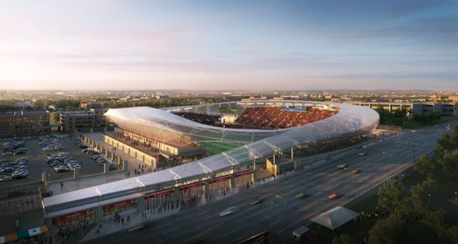 A new MLS stadium would bring professional soccer to St. Louis. Is it worth the outlay of public funds? - RENDERING COURTESY OF HOK