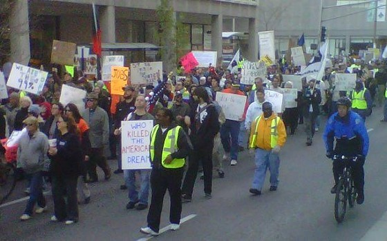 In this 2011 Occupy protest, 1,000 people marched through downtown St. Louis. - PHOTO BY TONY D'SOUZA