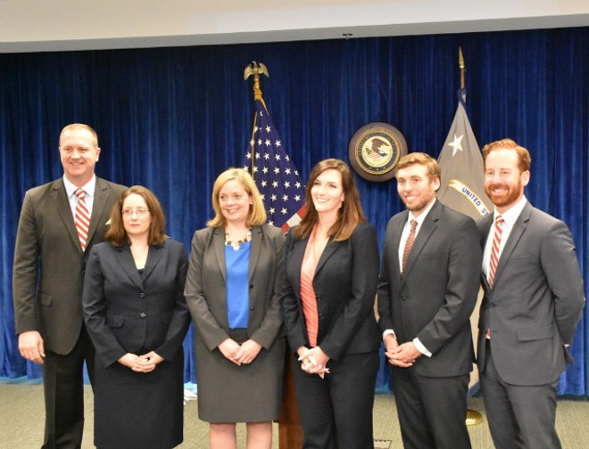 Attorney General Eric Schmitt (far left) with five assistant attorneys general deputized as federal prosecutors. From L: Natalie Warner, Jennifer Szczucinski, Katherine Dolin, Greg Goodwin and Jordan Williams. - DOYLE MURPHY