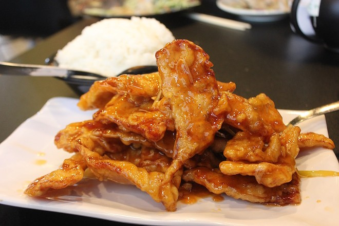 """""""Twice-cooked pork"""" is the true Dongbei version of sweet-and-sour pork. - PHOTO BY SARAH FENSKE"""