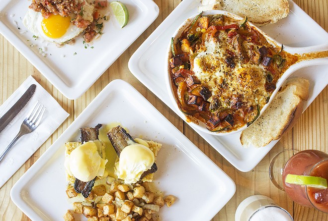 Highlights at Egg include the carnitas breakfast sope, veggie chakchouka and the cornbread benedict with smoked pork belly. - PHOTO BY MABEL SUEN