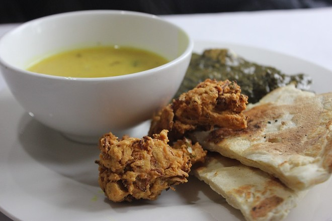 Veggie pakora with naan, palak paneer and soup. - PHOTO BY SARAH FENSKE