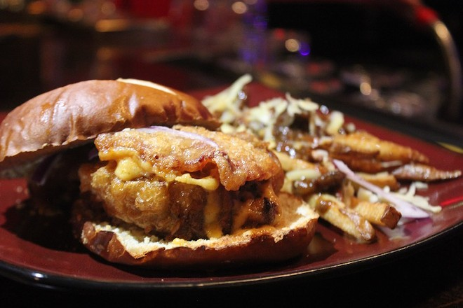 """The """"Hogan"""" burger is deep fried and then covered in cheese and bacon. - PHOTO BY SARAH FENSKE"""