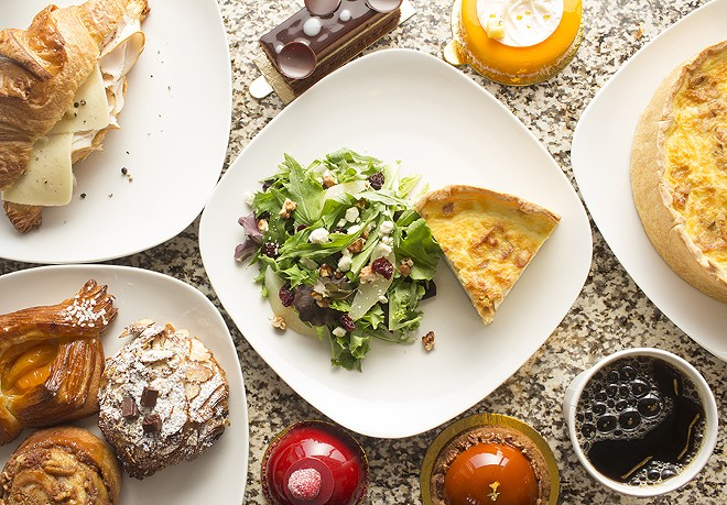 Items from Nathaniel Reid Bakery include a croissant sandwich, quiche, pastries and individual cakes. - PHOTO BY MABEL SUEN