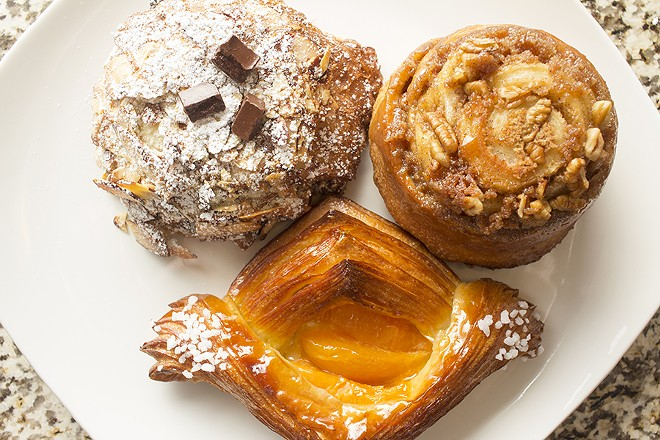 Pastries include a twice-baked croissant with almonds and chocolate. - PHOTO BY MABEL SUEN