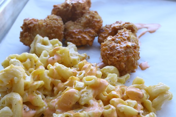 Chicken Nugs with OG Fire sauce served with Mac & Cheese - CHELSEA NEULING
