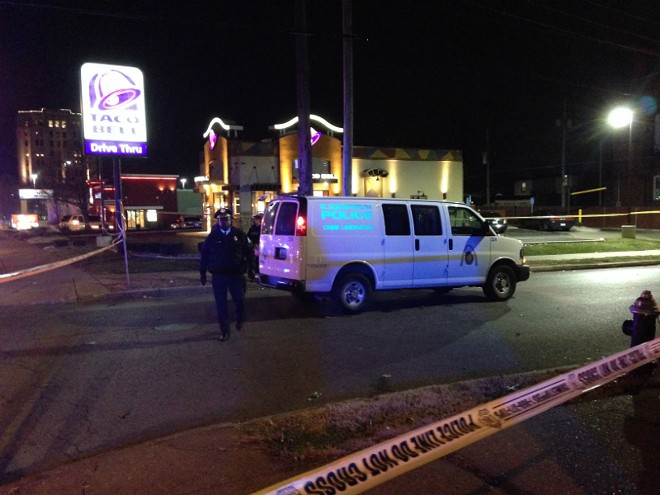 St. Louis police investigate a robbery at Taco Bell, 3501 S. Grand Ave. - IMAGE VIA DOYLE MURPHY