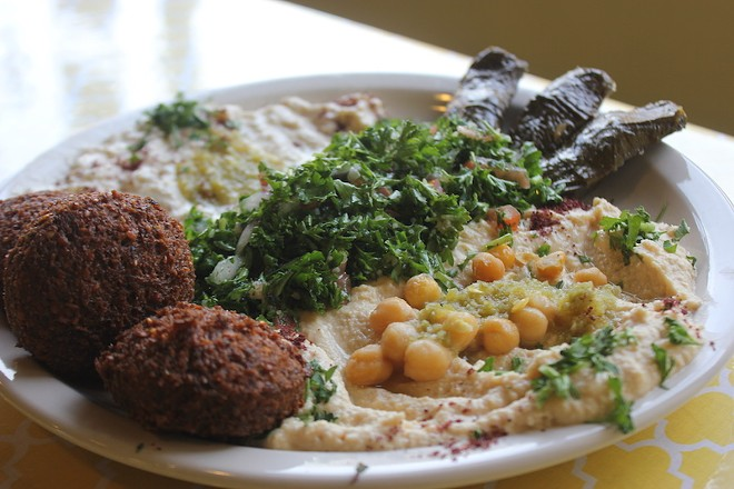 "The ""veg platter"" includes a bit of everything you love from Middle-Eastern restaurants. - PHOTO BY SARAH FENSKE"