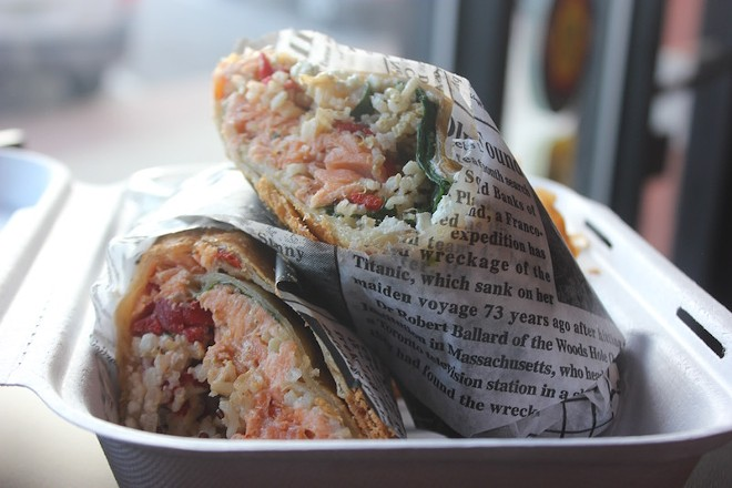 """The """"Wild Salmon Phatada"""" includes baked salmon and whipped feta in a lightly fried flatbread. - PHOTO BY SARAH FENSKE"""