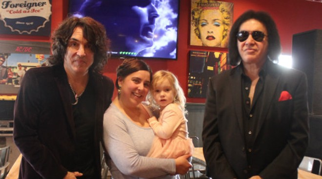 Paul Stanley and Gene Simmons were good sports at the grand opening of Rock & Brews. - CAROLYN SLONIM