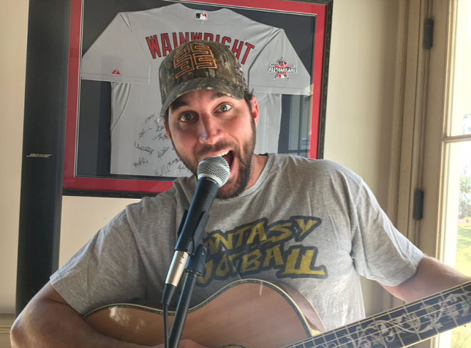 A clothed Adam Wainwright sings. For a significantly less clothed version, see the video below. - HANDOUT PHOTO