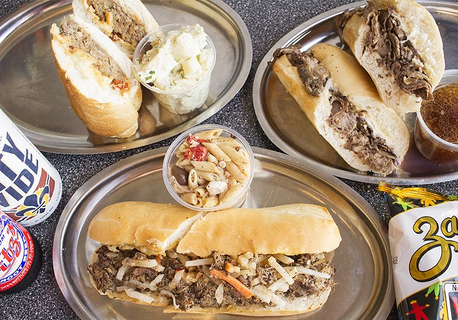 The meatloaf sandwich, French dip and jerk chicken sandwich. - PHOTO BY MABEL SUEN