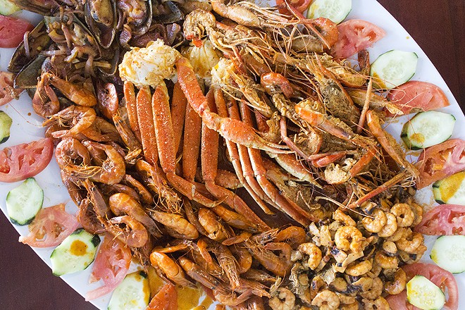 Mariscos El Gato's mariscada, or combination seafood platter. - PHOTO BY MABEL SUEN