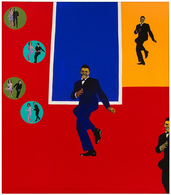 "Rosalyn Drexler (American, b. 1926), Chubby Checker, 1964. Acrylic, oil, and paper - collage on canvas, 75 x 65 1/4"". Hirshhorn Museum and Sculpture Garden, - Smithsonian Institution, Washington, DC, Gift of Joseph H. Hirshhorn, 1966. © 2017 - Rosalyn Drexler / Artists Rights Society (ARS), New York."