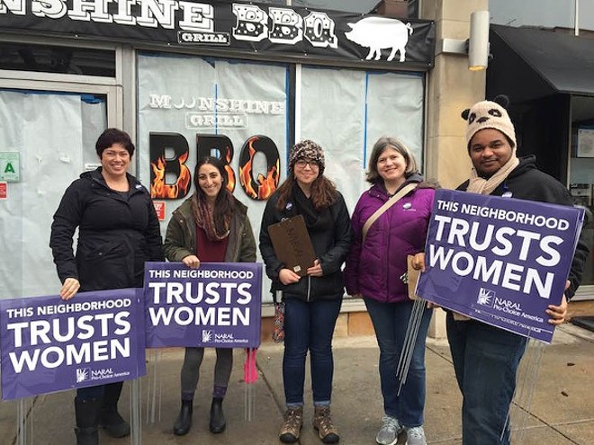 A NARAL campaign earlier this year put signs around Governor Eric Greitens' St. Louis home, reminding him that many neighbors are pro-choice. - PHOTO COURTESY OF NARAL PRO-CHOICE MISSOURI