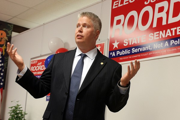 Jeff Roorda, shown here during a campaign stop for his failed 2014 bid for state senate. - PHOTO BY DANNY WICENTOWSKI