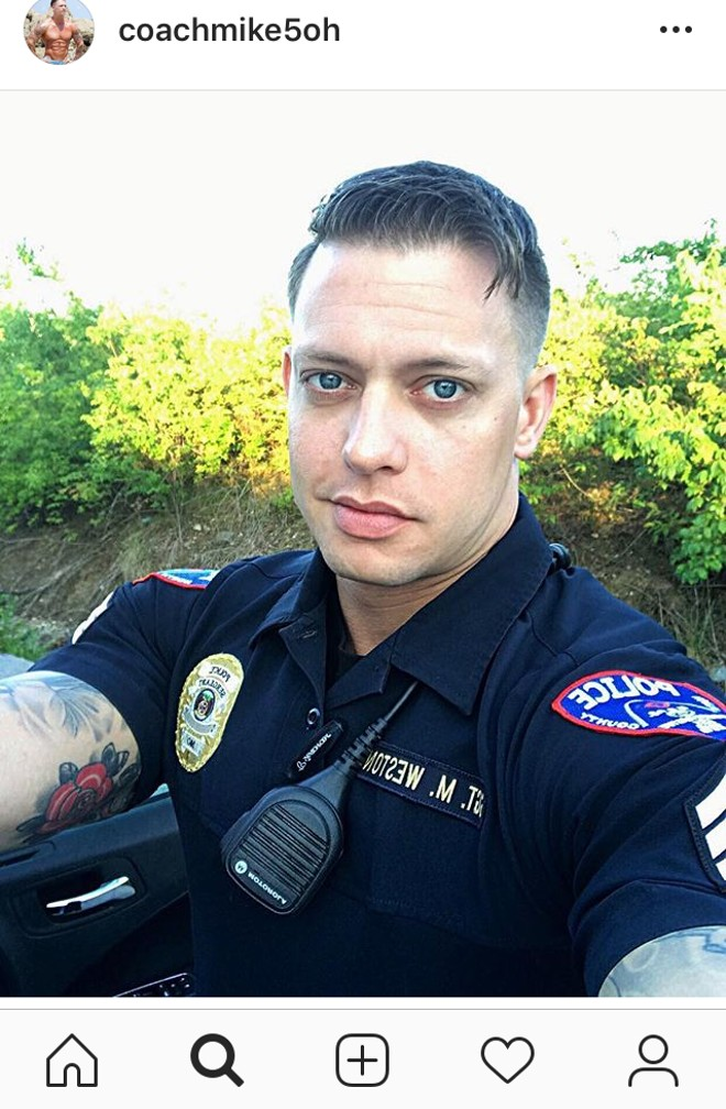 After his days as @OfficerAnon2 on Twitter, Mike Weston posted police selfies and pics of evidence from case on Instagram. - INSTAGRAM