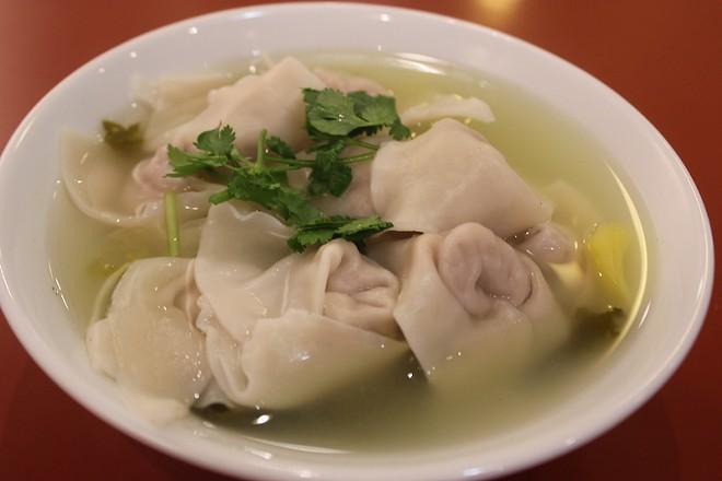 """Chinese sour pickle"" wonton soup. - SARAH FENSKE"
